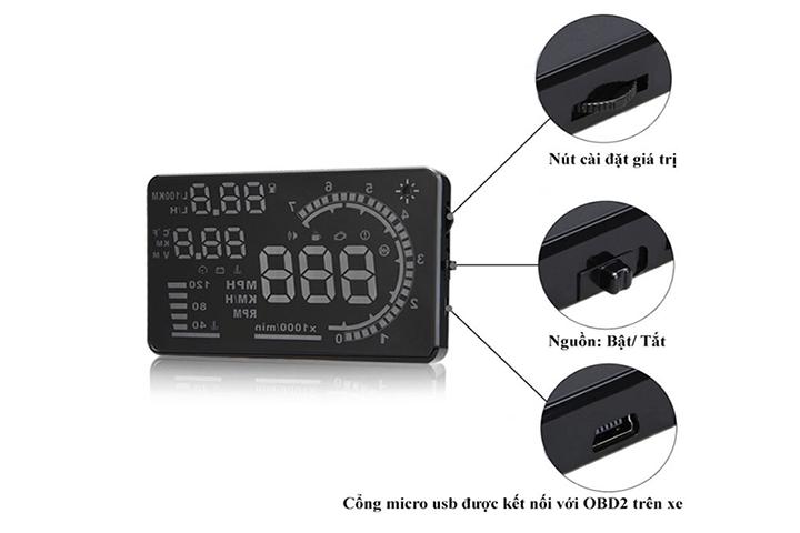 Các nút chức năng của thiết bị HUD A8
