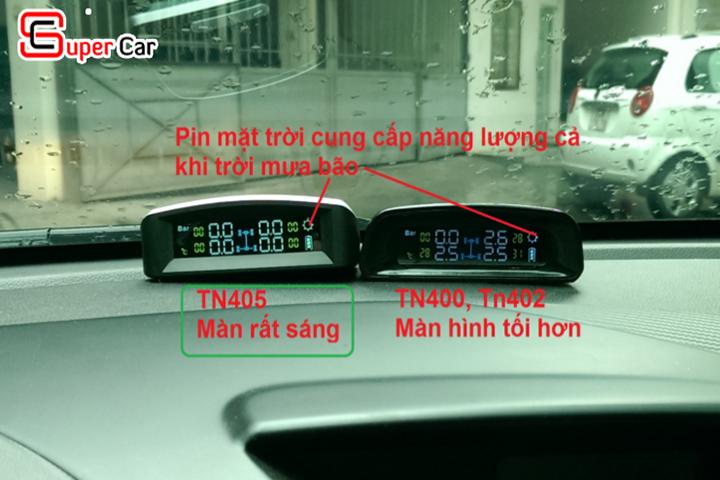 Màn hình hiển thị của cảm biến áp suất lốp TN405 sáng hơn những sản phẩm khác