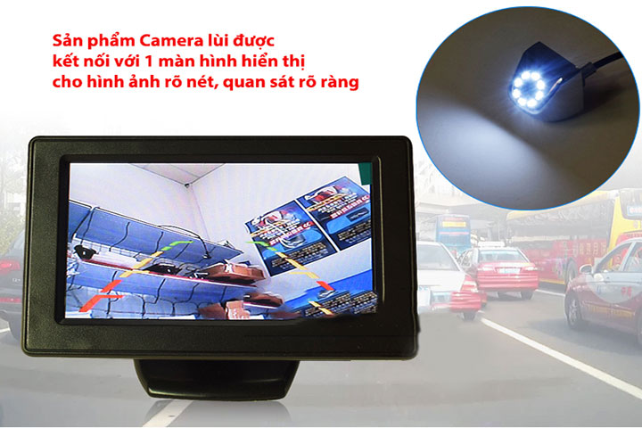 Camera lùi kết nối với màn hình DVD hoặc màn hình rời