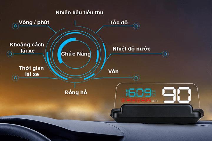 Hiển thị tốc độ trên kính lái HUD C500
