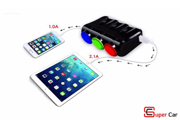 Bộ chia tẩu ô tô 3 ổ cắm 2 cổng USB