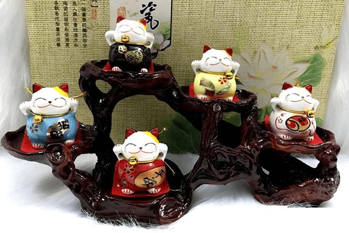 Bộ tượng ngũ mèo thần tài 3
