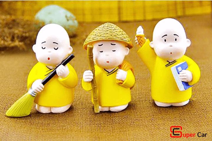 Bộ tượng 3 chú tiểu áo vàng 1